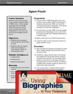 Biography Strategy Lesson - Jigsaw Puzzle