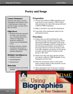 Biography Strategy Lesson - Poetry and Songs