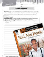 Bud, Not Buddy Reader Response Writing Prompts (Great Work