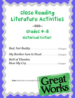 Close Reading Literature Activities for Grades 4-8 Historical Fiction