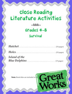 Close Reading Literature Activities for Grades 4-8 Survival Stories
