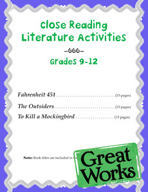 Close Reading Literature Activities for Grades 9-12