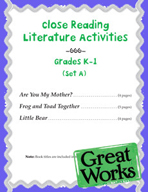 Close Reading Literature Activities for Grades K-1 (Set A)