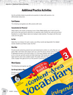 Content-Area Vocabulary Level 3 - Card -  Games and Word G