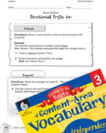 Content-Area Vocabulary Level 3 - Directional Prefix in-