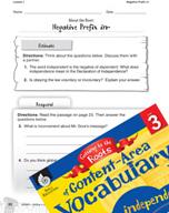 Content-Area Vocabulary Level 3 - Negative Prefix in-