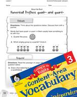 Content-Area Vocabulary Level 3 - Numerical Prefixes quadr- and quart-