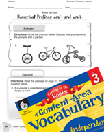 Content-Area Vocabulary Level 3 - Numerical Prefixes uni- and unit-