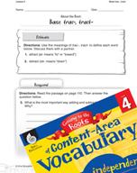 Content-Area Vocabulary Level 4 - Base trac-, tract-