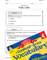 Content-Area Vocabulary Level 4 - Prefix multi-