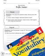 Content-Area Vocabulary Level 4 - Prefix trans-