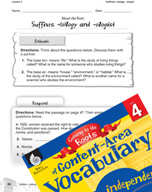 Content-Area Vocabulary Level 4 - Suffixes -(o)logy and -ologist