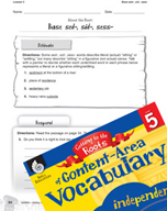 Content-Area Vocabulary Level 5 - Base sed-, sid-, sess-