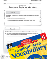 Content-Area Vocabulary Level 5 - Directional Prefix a-, ab-, abs-