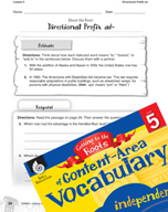 Content-Area Vocabulary Level 5 - Directional Prefix ad-
