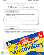 Content-Area Vocabulary Level 5 - Prefixes peri-, circum-, and circu-