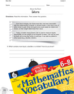 Content-Area Vocabulary Mathematics - Base liter-