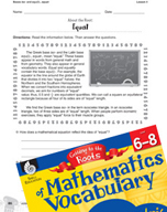 Content-Area Vocabulary Mathematics - Bases iso- and equ(i)-, equat-