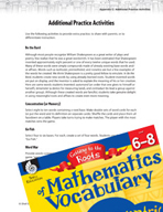 Content-Area Vocabulary Mathematics - Card -  Games and Word Games for Practice