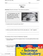 Content-Area Vocabulary Science - Base flu-, fluv-, flux-, fluct-