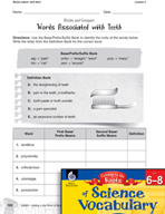 Content-Area Vocabulary Science - Bases odont- and dent-