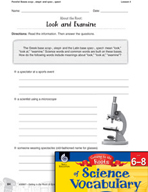 Content-Area Vocabulary Science - Parallel Bases scop-, skept- and spec-, spect-