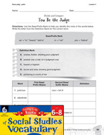 Content-Area Vocabulary Social Studies - Base judg-, judic-