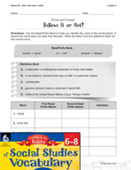 Content-Area Vocabulary Social Studies - Bases fid-, fidel- and cred-, credit-
