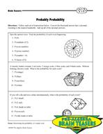 Critical Thinking Activities Algebra - Probability