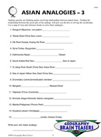 Critical Thinking Activities Geography - Asia