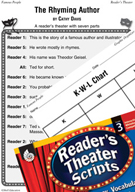 Dr. Seuss-The Rhyming Author Reader's Theater Script and Lesson