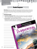 Dragonwings Reader Response Writing Prompts (Great Works Series)