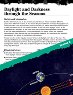 Earth Systems and Cycles Inquiry Card - Daylight and Darkness through the Seasons