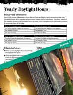 Earth Systems and Cycles Inquiry Card - Yearly Daylight Hours