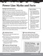 Electricity and Magnetism Inquiry Card - Power Line Myths and Facts