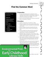 Environmental Print and Building Vocabulary: Find the Common Word