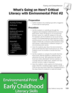 Environmental Print and Fluency/Comprehension: Critical Literacy #2
