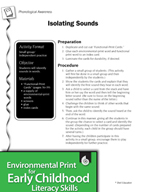 Environmental Print and Phonological Awareness: Isolating Sounds