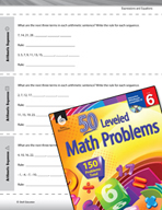 Expressions and Equations Leveled Problems: Arithmetic Sequences