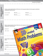 Expressions and Equations Leveled Problems: Arithmetic and Geometric Sequences