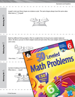 Expressions and Equations Leveled Problems: Balancing Equations
