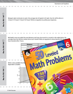 Expressions and Equations Leveled Problems: Dependent and Independent Variables