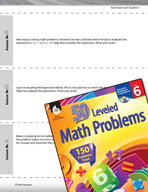 Expressions and Equations Leveled Problems: Evaluating Expressions