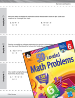 Expressions and Equations Leveled Problems: Simplify Expressions