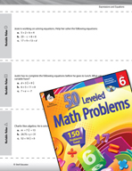 Expressions and Equations Leveled Problems: Variables
