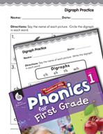 First Grade Foundational Phonics Skills: Digraph Practice