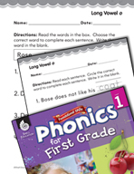 First Grade Foundational Phonics Skills: Long Vowel o