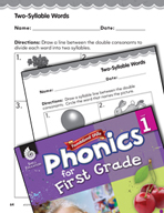First Grade Foundational Phonics Skills: Two-Syllable Words
