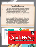 Four Quick Secondary Writing Prompts (Set 5)