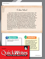 Four Quick Sixth Grade Writing Prompts (Set 1)